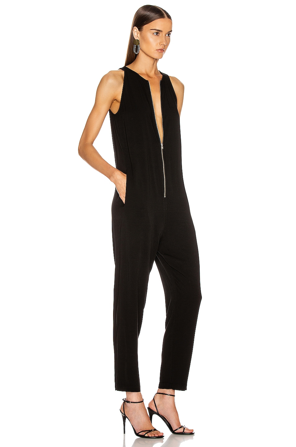 Image 2 of Enza Costa Front Zip Jumpsuit in Black