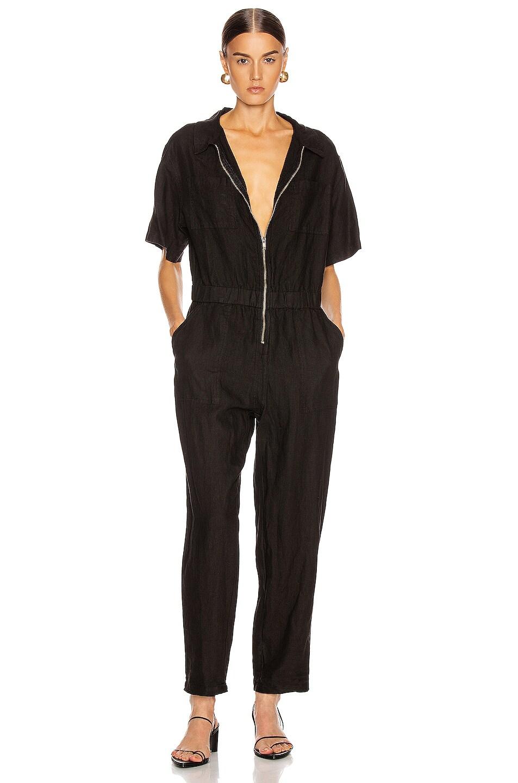 Image 1 of Enza Costa Linen Short Sleeve Jumpsuit in Black