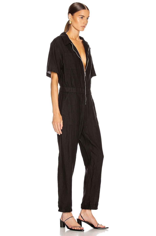 Image 2 of Enza Costa Linen Short Sleeve Jumpsuit in Black