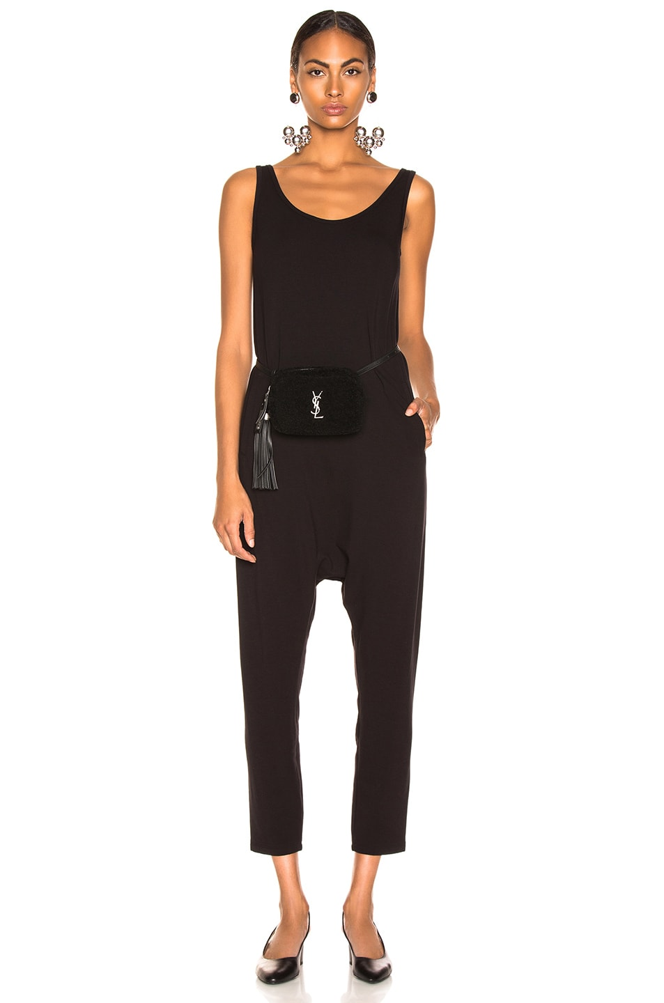 Image 1 of Enza Costa Sleeveless Drop Rise Jumpsuit in Black