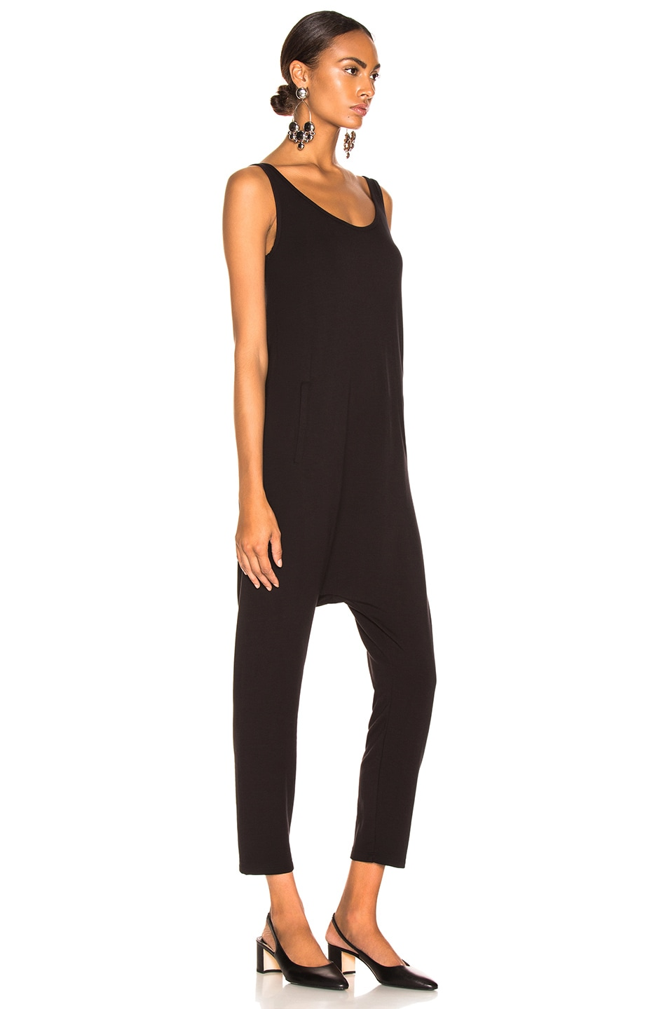 Image 2 of Enza Costa Sleeveless Drop Rise Jumpsuit in Black