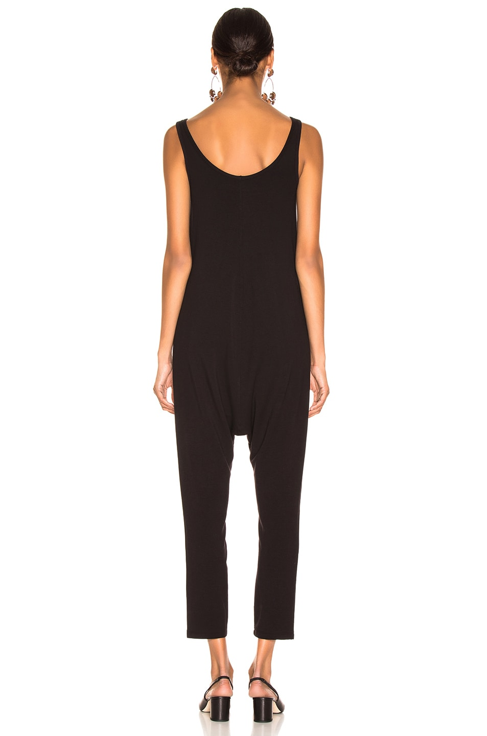 Image 3 of Enza Costa Sleeveless Drop Rise Jumpsuit in Black