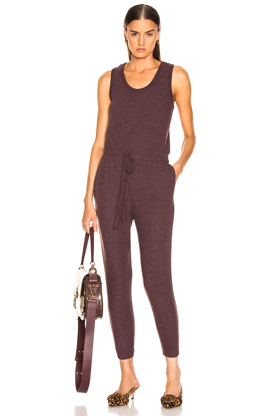 Image 1 of Enza Costa Sleeveless Drawcord Jumpsuit in Bordeaux