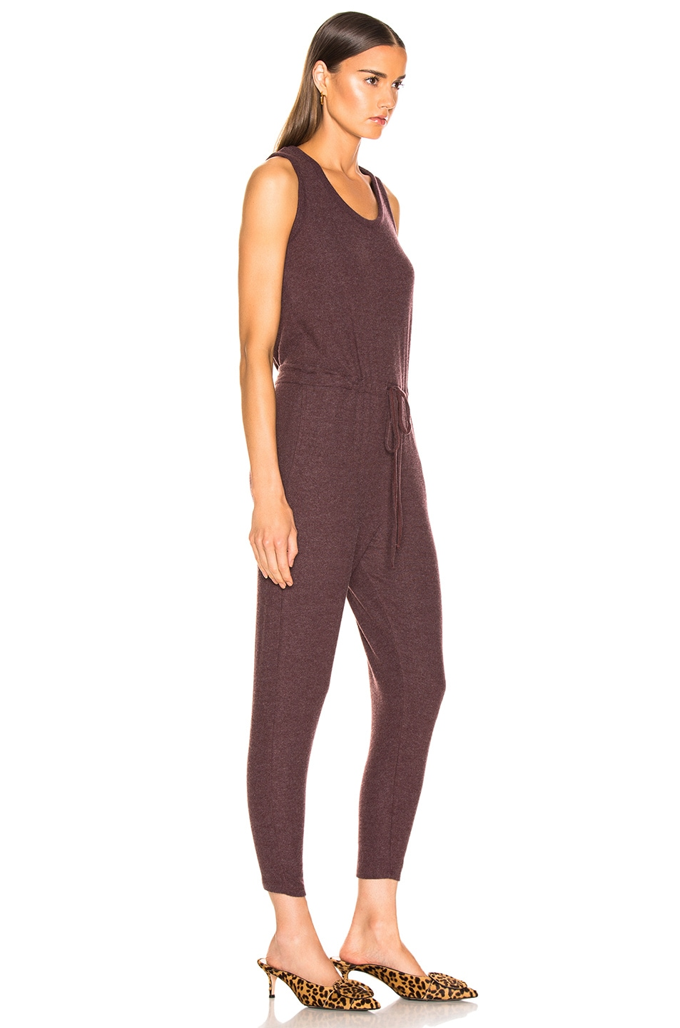 Image 2 of Enza Costa Sleeveless Drawcord Jumpsuit in Bordeaux