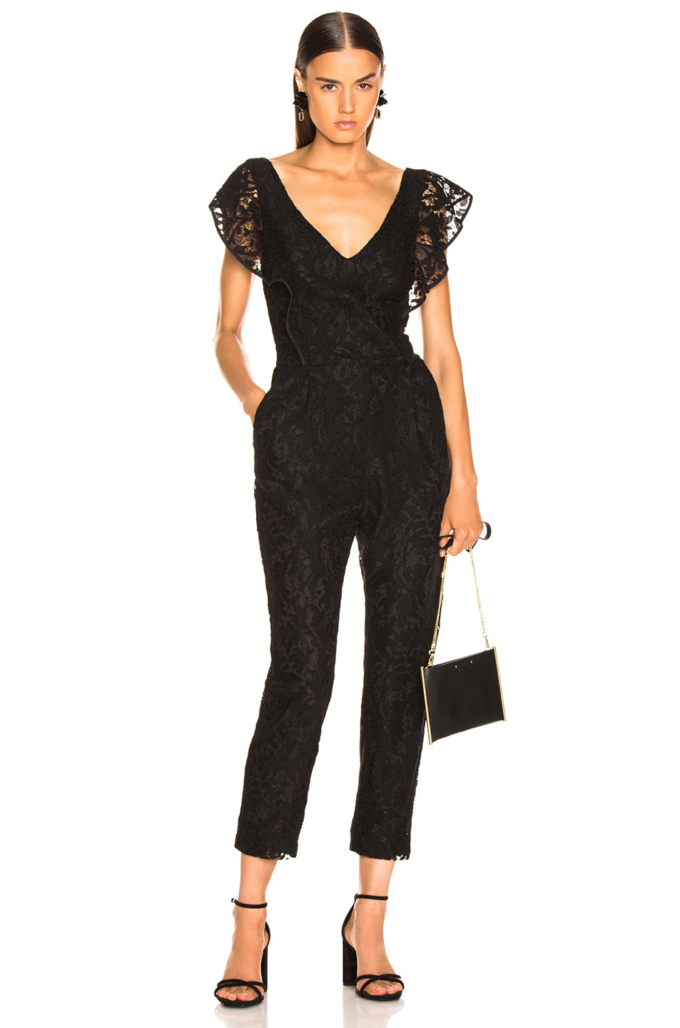 Image 1 of Enza Costa Floral Lace Ruffle Jumpsuit in Black