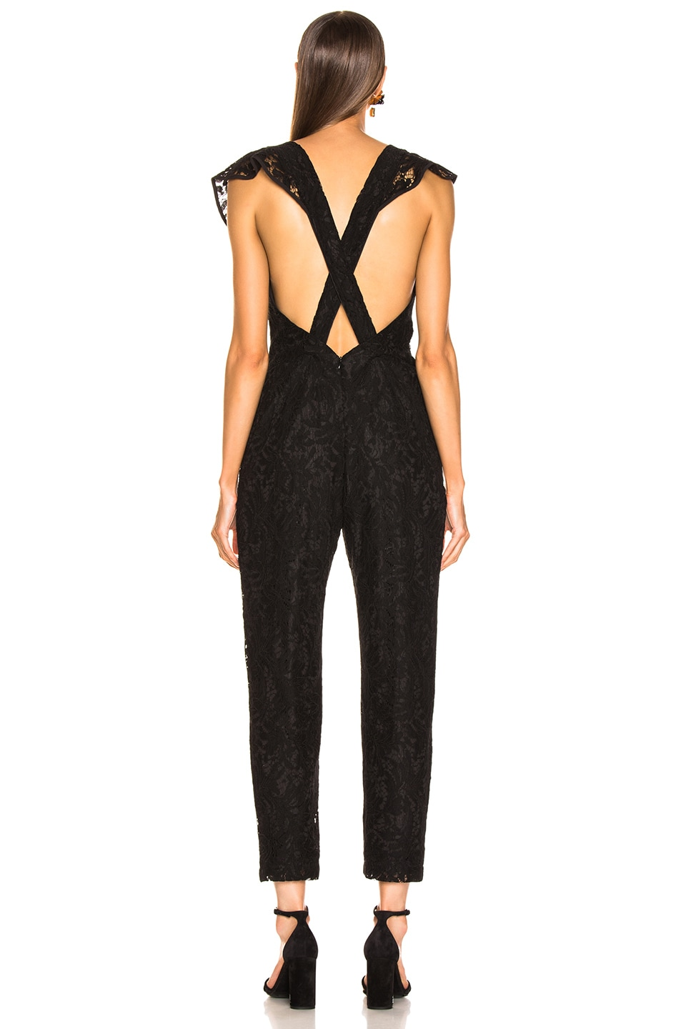 Image 3 of Enza Costa Floral Lace Ruffle Jumpsuit in Black