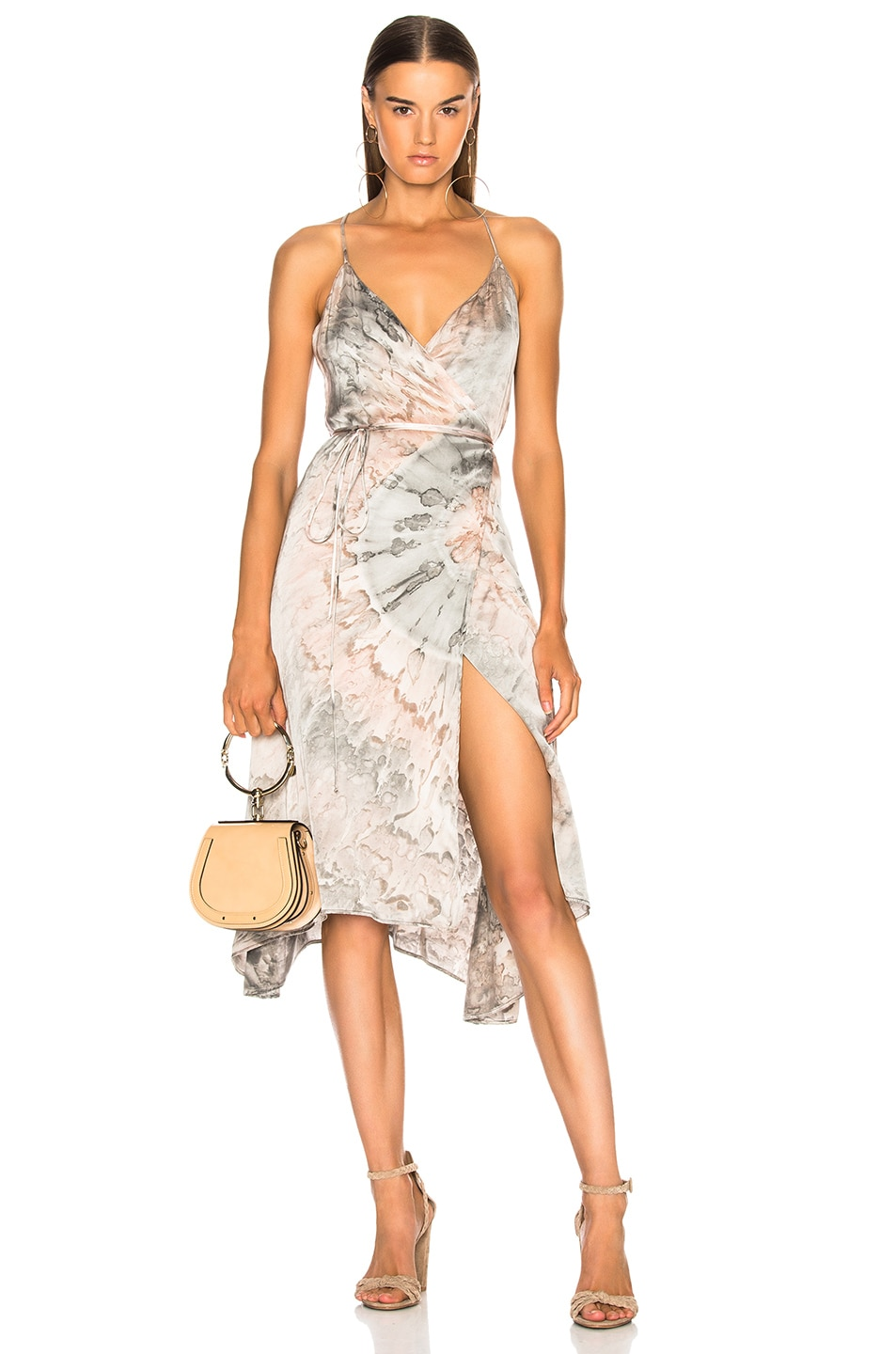 Image 1 of Enza Costa Viscose Sateen Strappy Wrap Dress in Foundation Agate