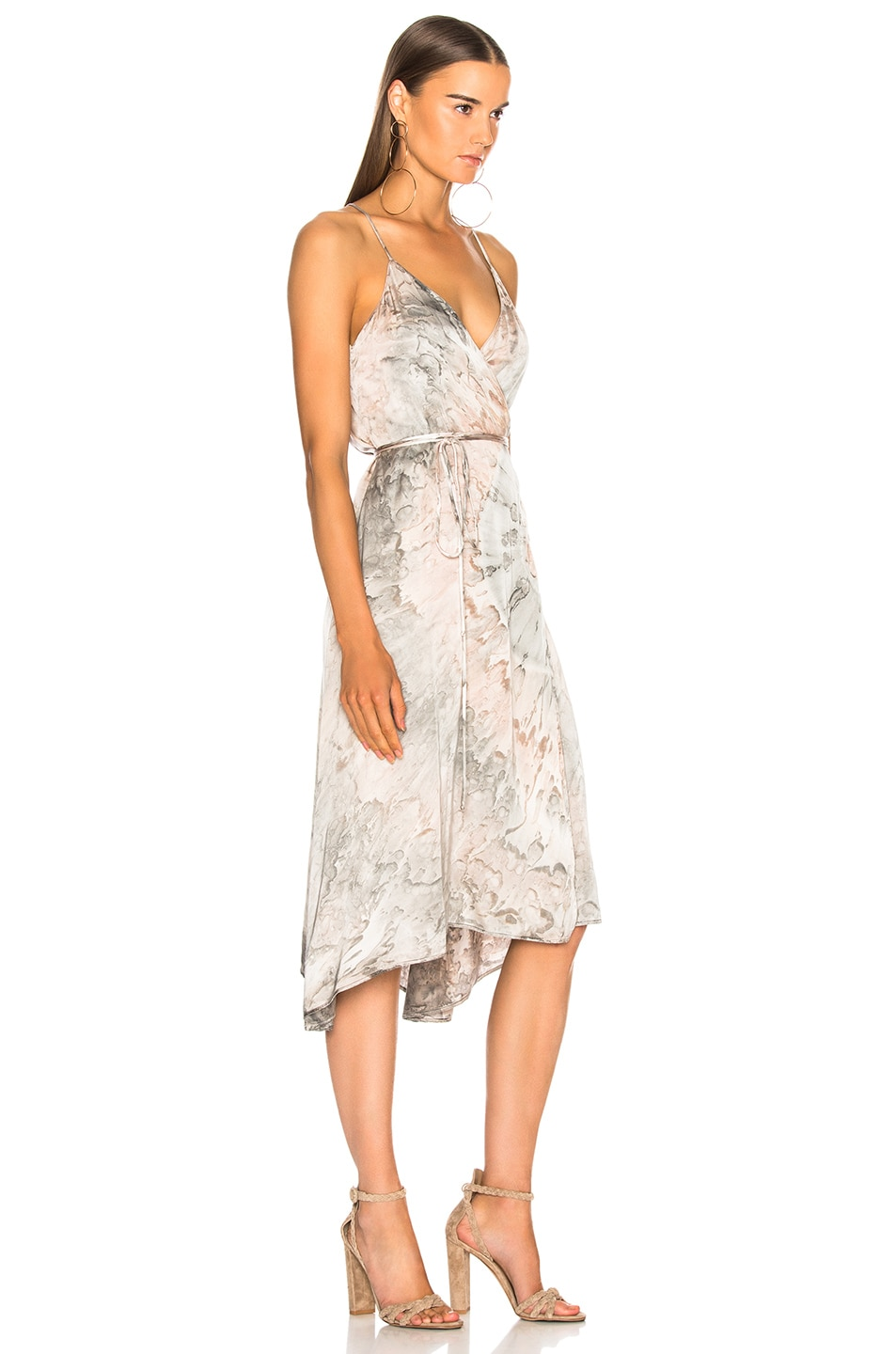 Image 2 of Enza Costa Viscose Sateen Strappy Wrap Dress in Foundation Agate