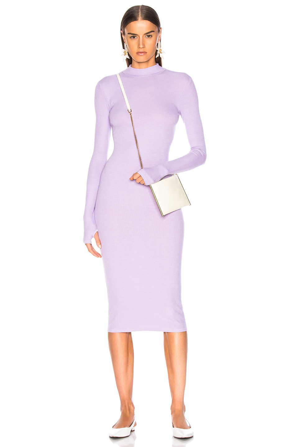 Image 1 of Enza Costa Rib Mock Neck Midi Dress in Orchid
