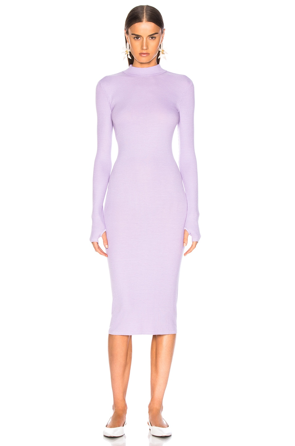 Image 2 of Enza Costa Rib Mock Neck Midi Dress in Orchid