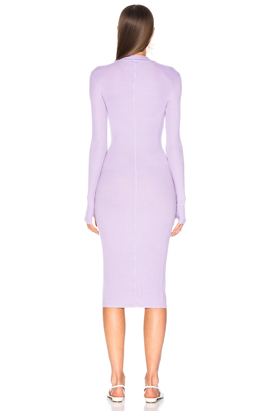 Image 4 of Enza Costa Rib Mock Neck Midi Dress in Orchid