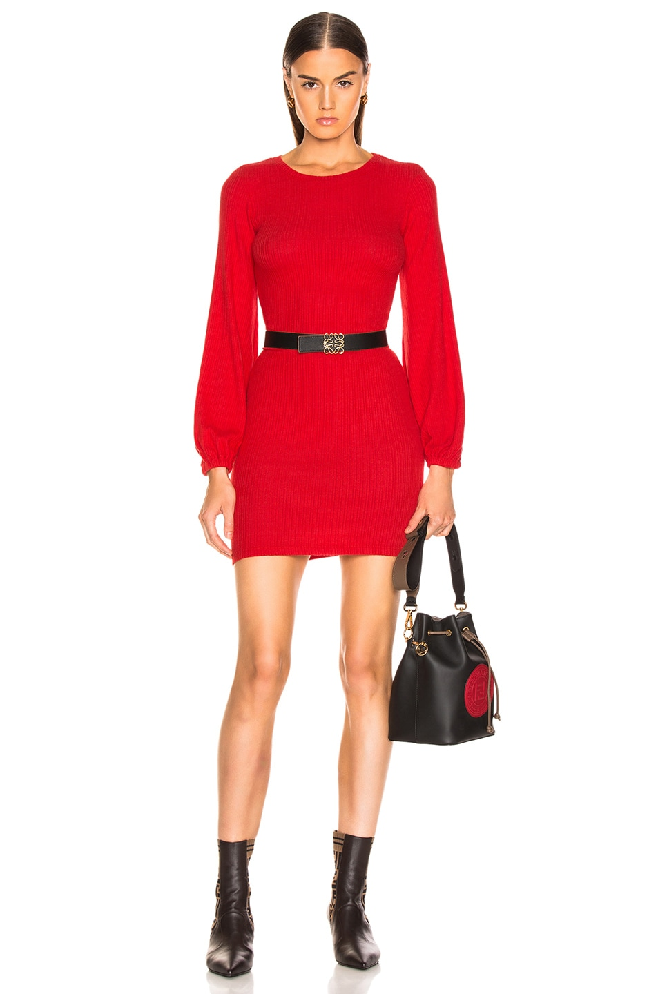 Image 1 of Enza Costa Rib Volume Sleeve Mini Dress in Iconic Red