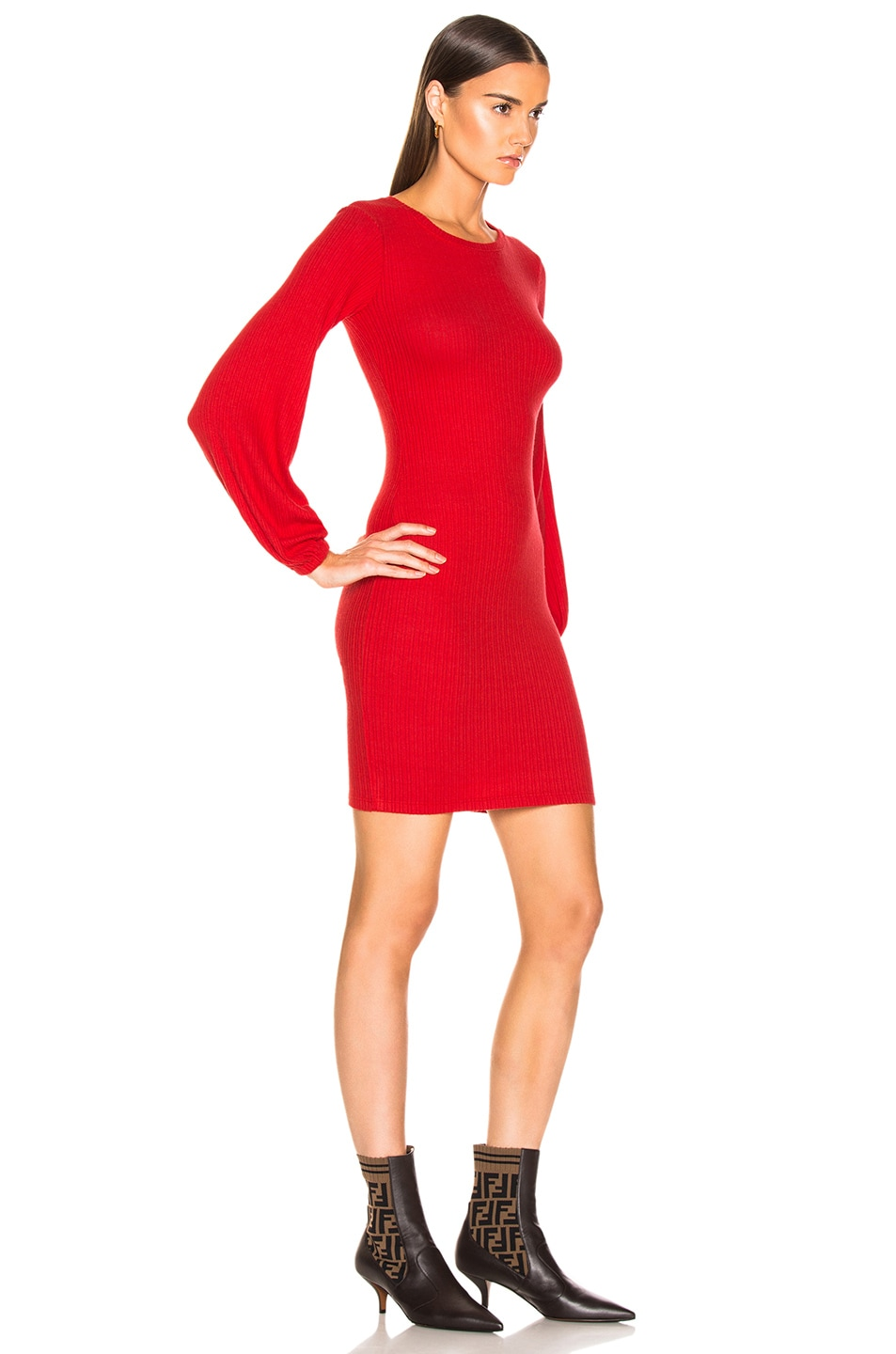 Image 2 of Enza Costa Rib Volume Sleeve Mini Dress in Iconic Red
