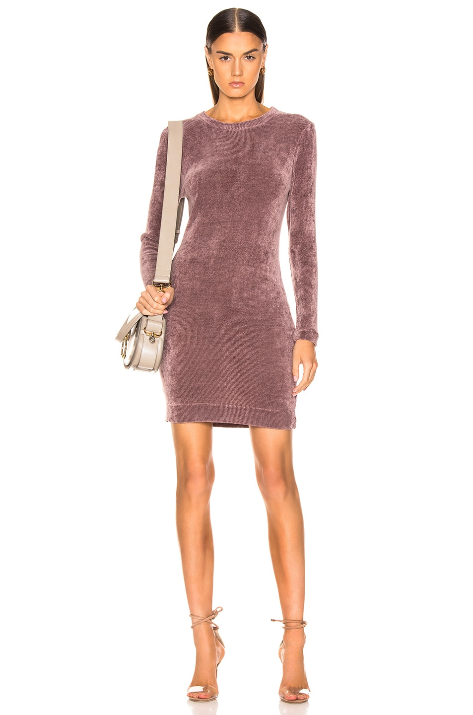 Image 1 of Enza Costa Chenille Sweatshirt Mini Dress in Frosted Fig
