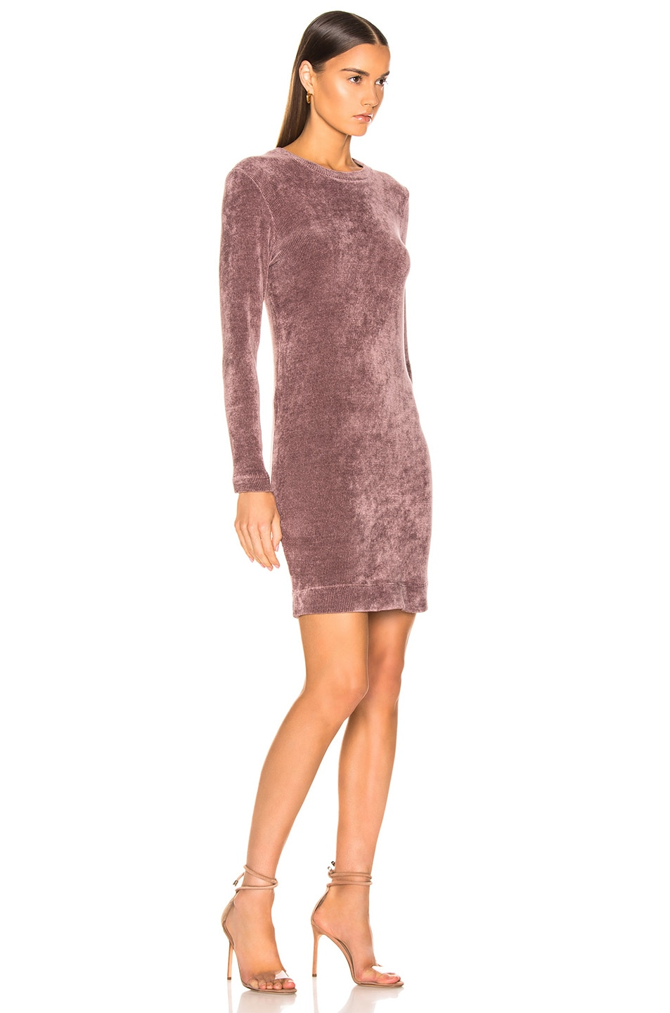 Image 2 of Enza Costa Chenille Sweatshirt Mini Dress in Frosted Fig