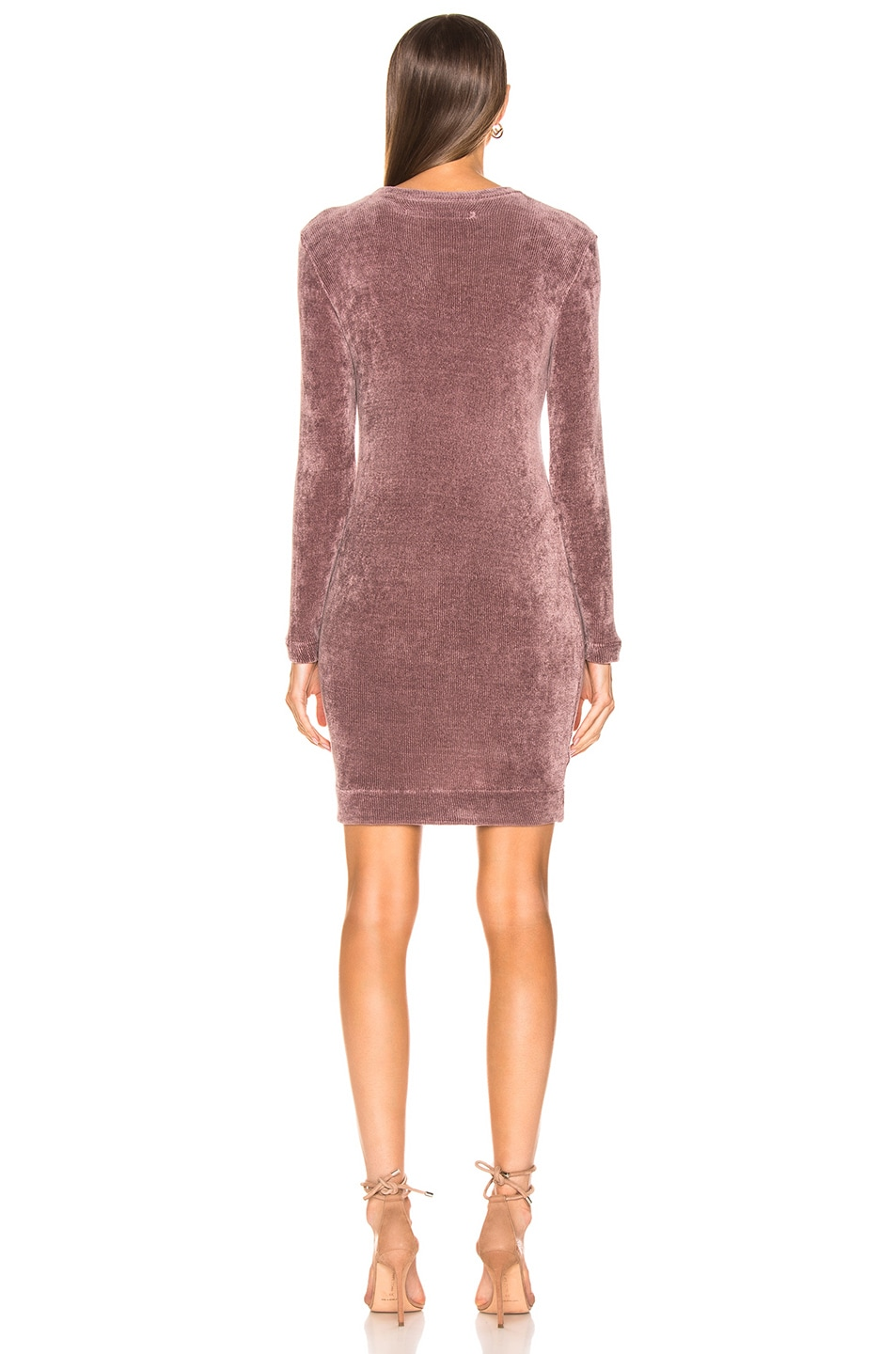 Image 3 of Enza Costa Chenille Sweatshirt Mini Dress in Frosted Fig