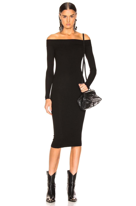 Image 1 of Enza Costa Rib Exposed Shoulder Midi Dress in Black