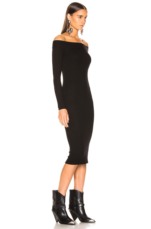Image 2 of Enza Costa Rib Exposed Shoulder Midi Dress in Black