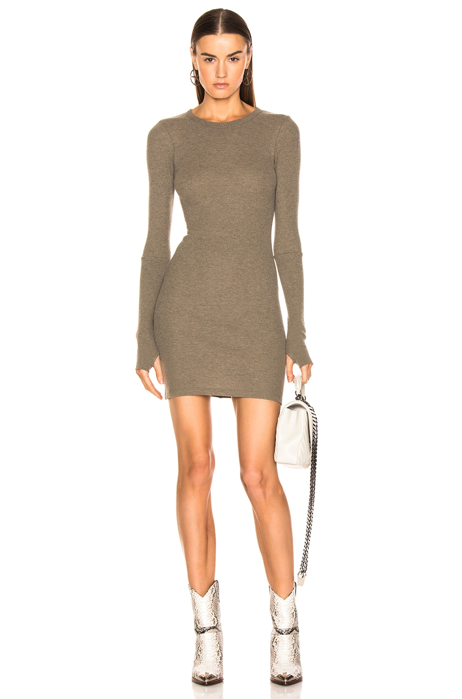 Image 1 of Enza Costa Cashmere Thermal Long Sleeve Crew Mini Dress in Pebble