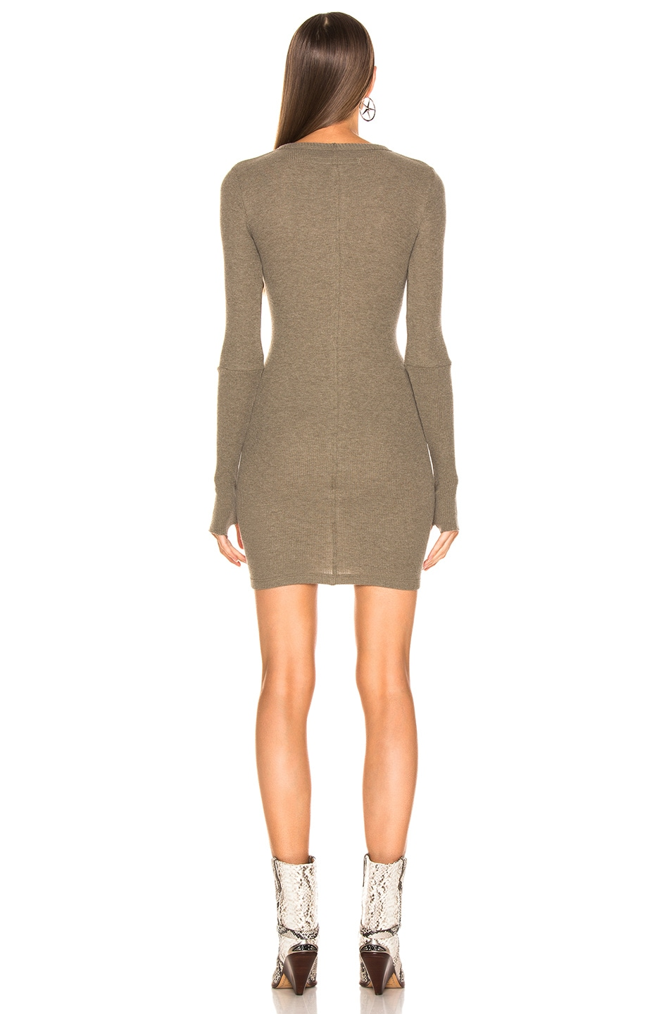 Image 3 of Enza Costa Cashmere Thermal Long Sleeve Crew Mini Dress in Pebble