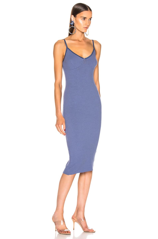 Image 2 of Enza Costa for FWRD Rib Strappy Bra Midi Dress in Vintage Blue