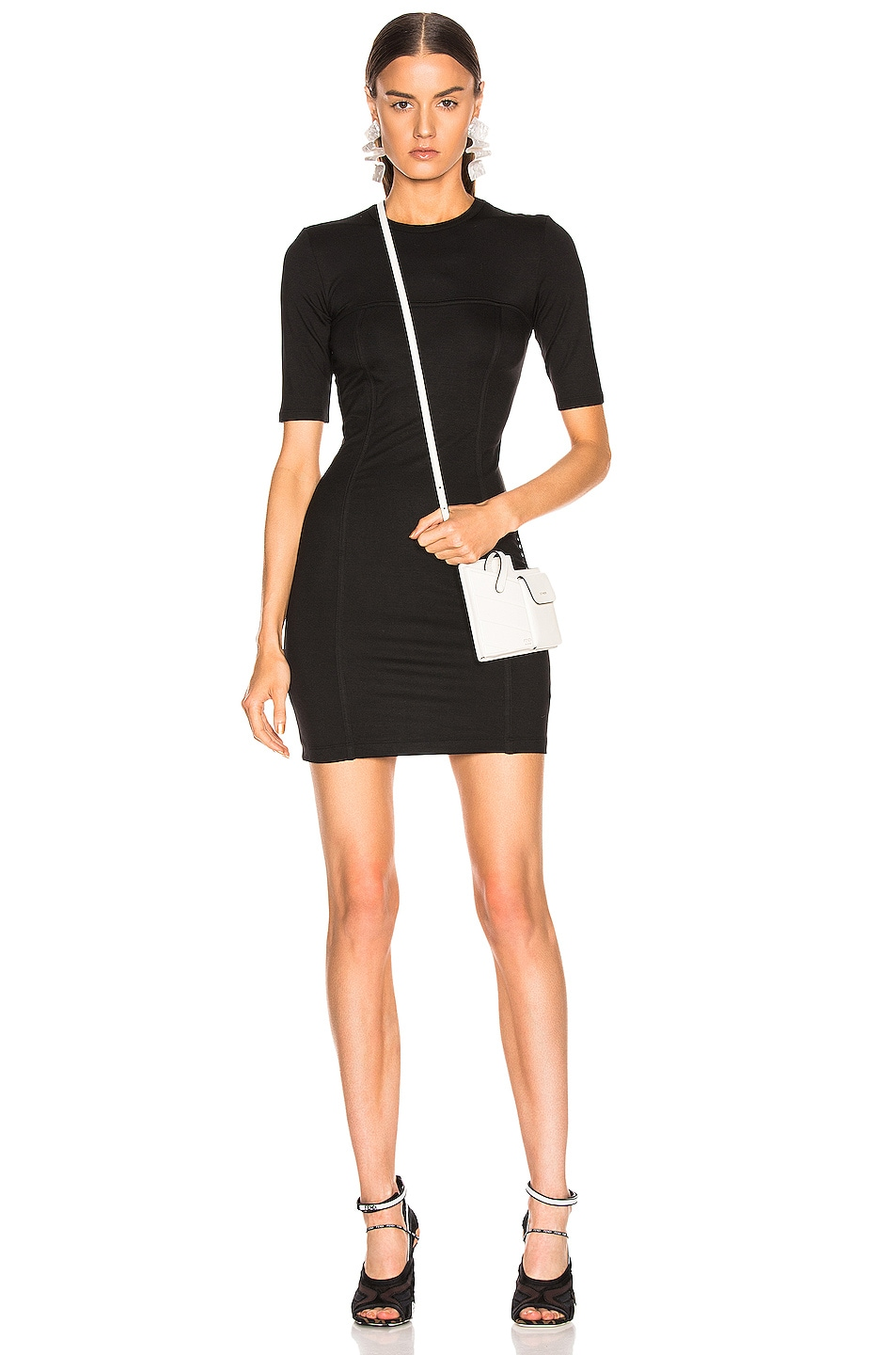 Image 1 of Enza Costa Seamed Mini Dress in Black