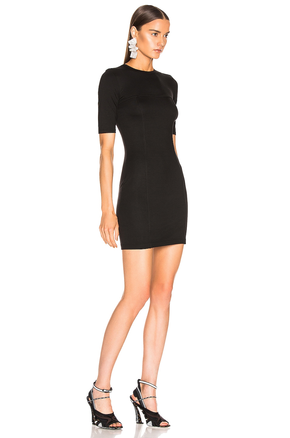Image 2 of Enza Costa Seamed Mini Dress in Black