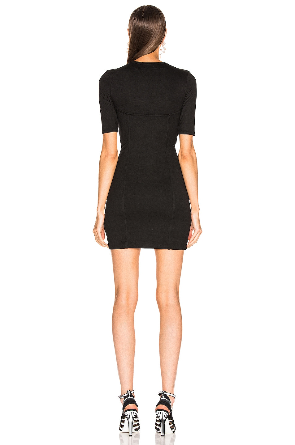 Image 3 of Enza Costa Seamed Mini Dress in Black