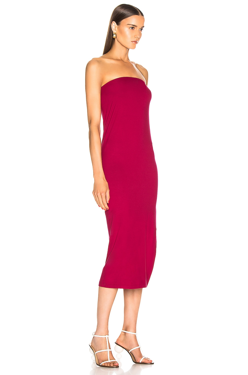 Image 2 of Enza Costa for FWRD Side Slit Dress in Fuchsia Red