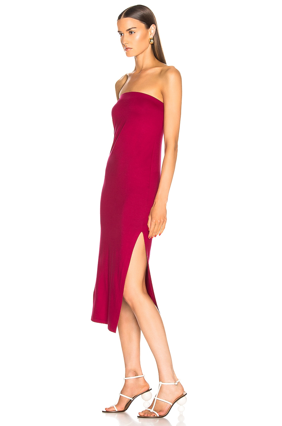 Image 3 of Enza Costa for FWRD Side Slit Dress in Fuchsia Red
