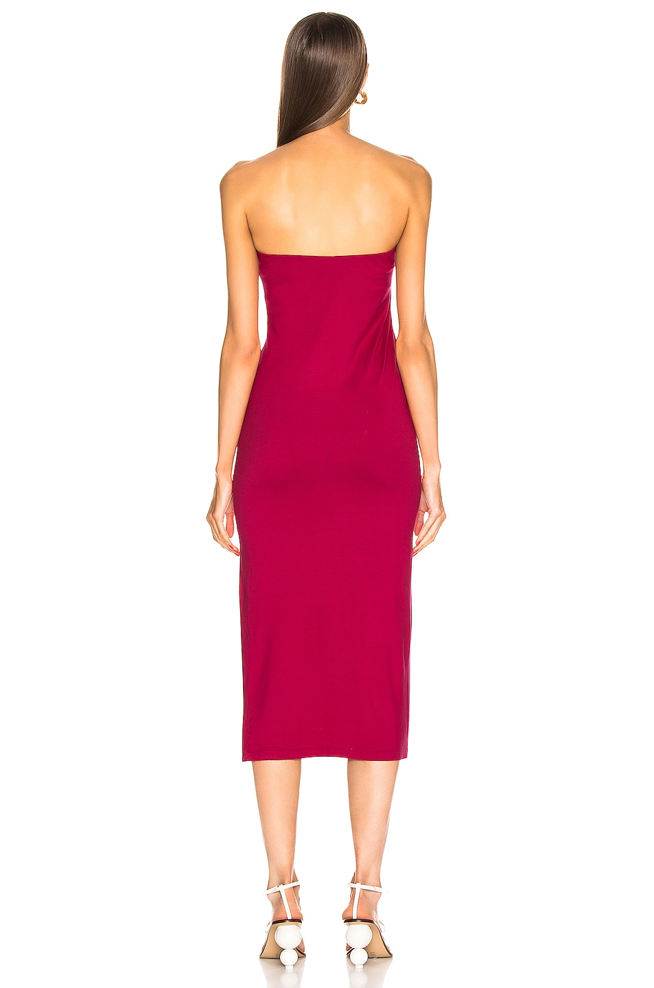 Image 4 of Enza Costa for FWRD Side Slit Dress in Fuchsia Red
