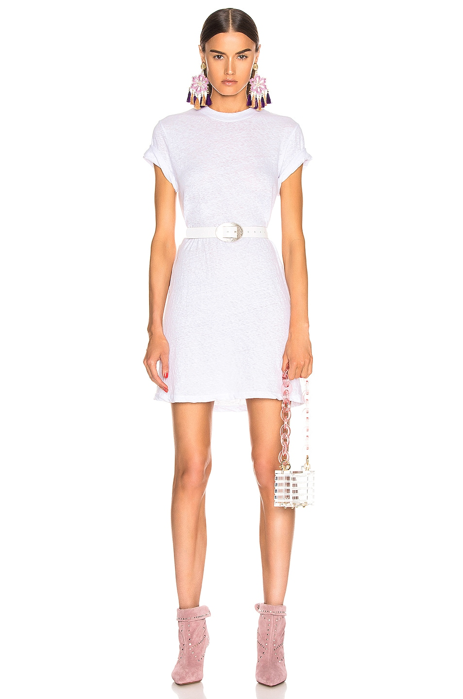 Image 1 of Enza Costa Short Sleeve Crew Mini Dress in White