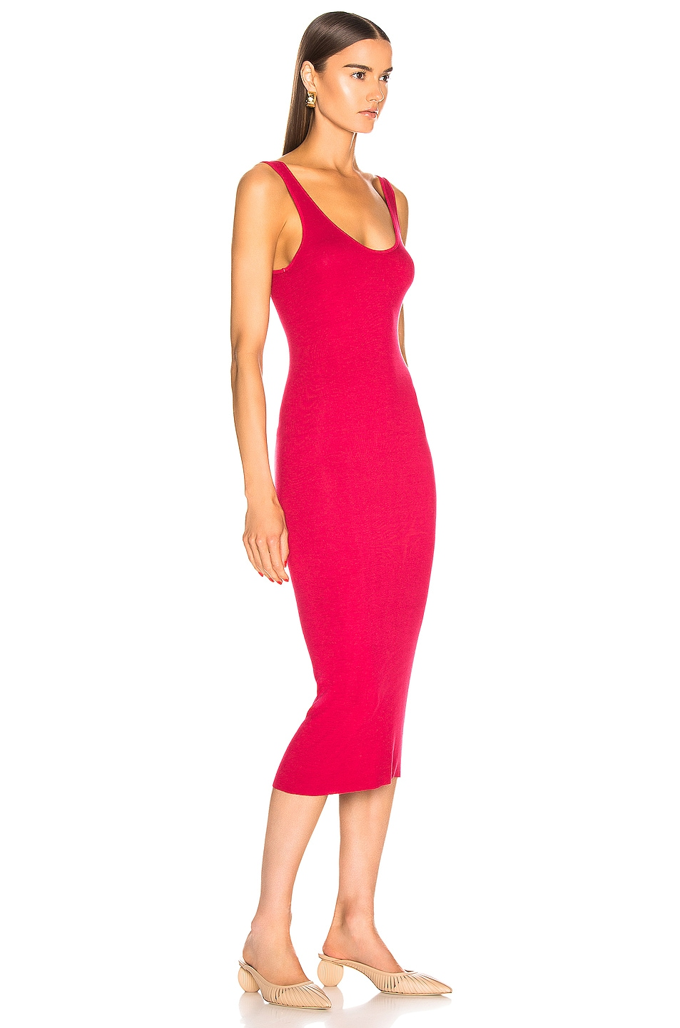 Image 2 of Enza Costa Tank Midi Dress in Fuchsia Red