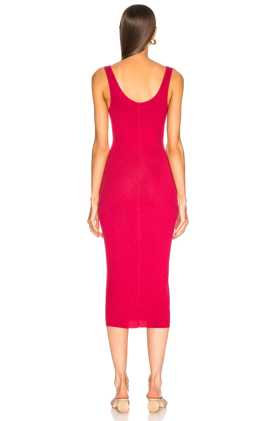 Image 3 of Enza Costa Tank Midi Dress in Fuchsia Red