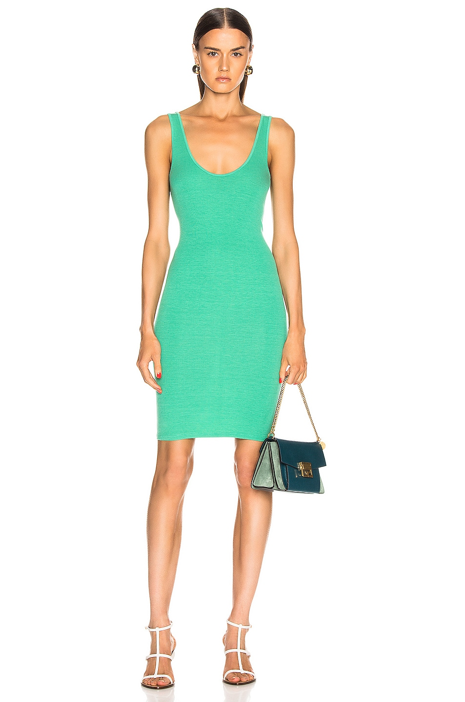 Image 1 of Enza Costa for FWRD Rib Tank Dress in Jade Green