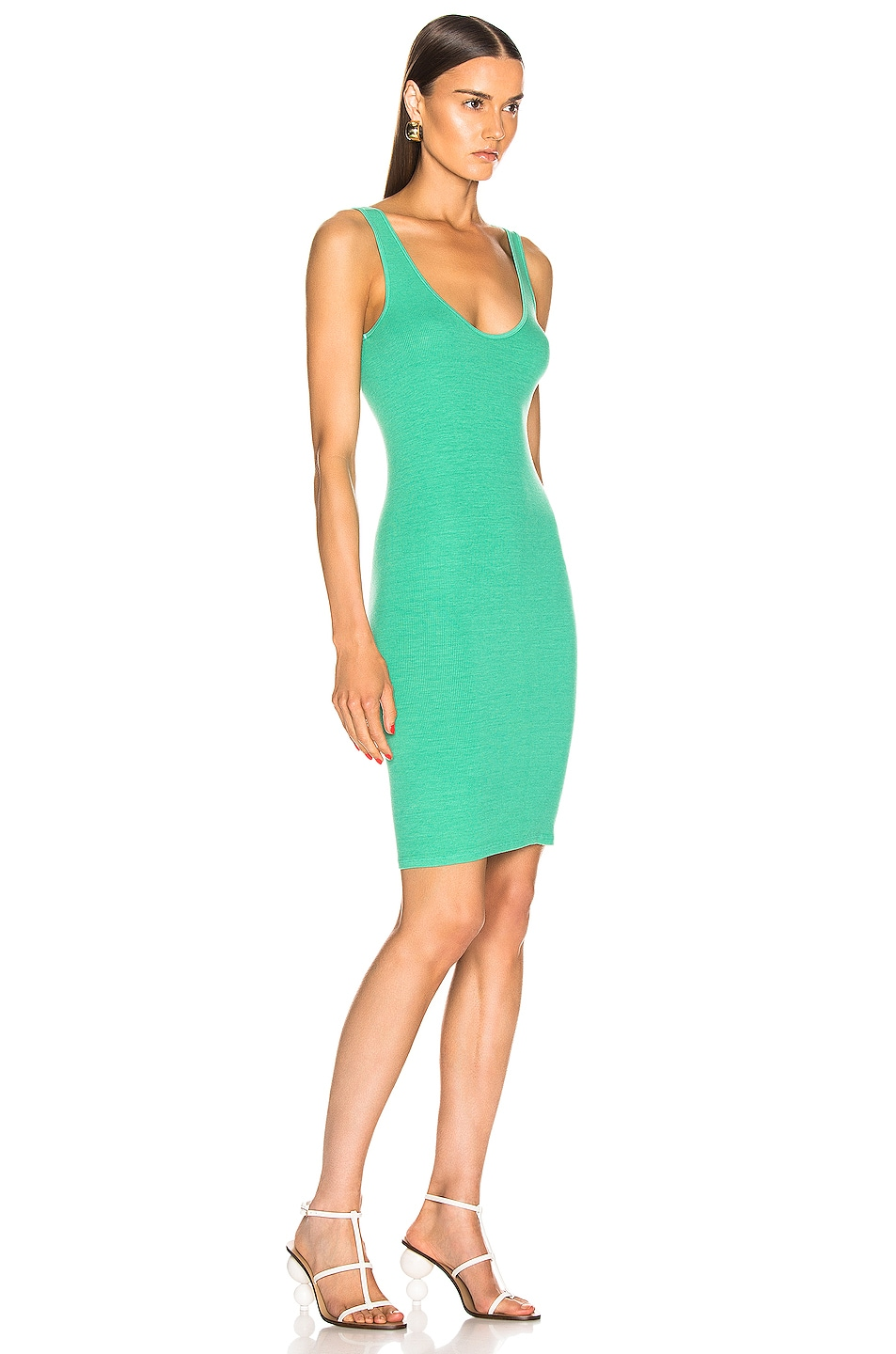Image 2 of Enza Costa for FWRD Rib Tank Dress in Jade Green