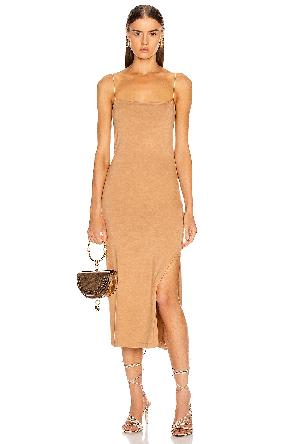 Image 1 of Enza Costa Strappy Side Slit Dress in Foundation