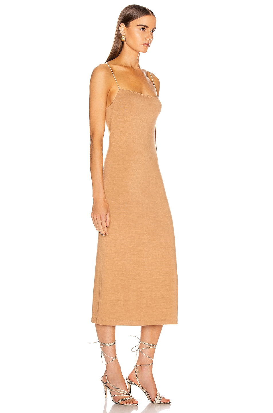 Image 2 of Enza Costa Strappy Side Slit Dress in Foundation