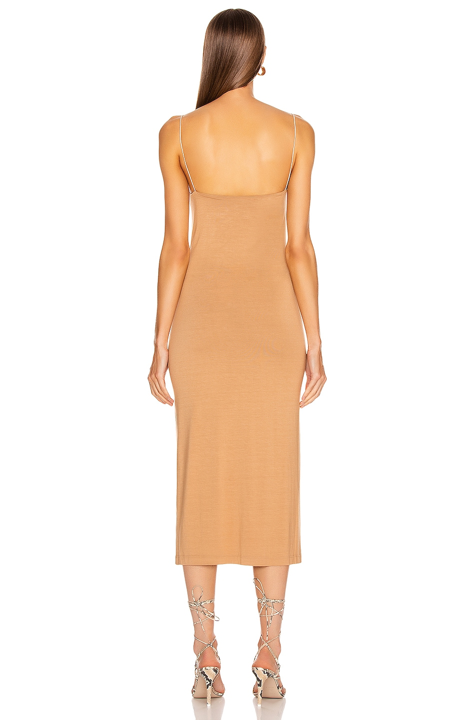 Image 4 of Enza Costa Strappy Side Slit Dress in Foundation
