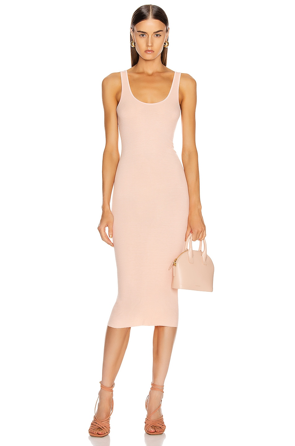 Image 1 of Enza Costa Rib Tank Midi Dress in Peach