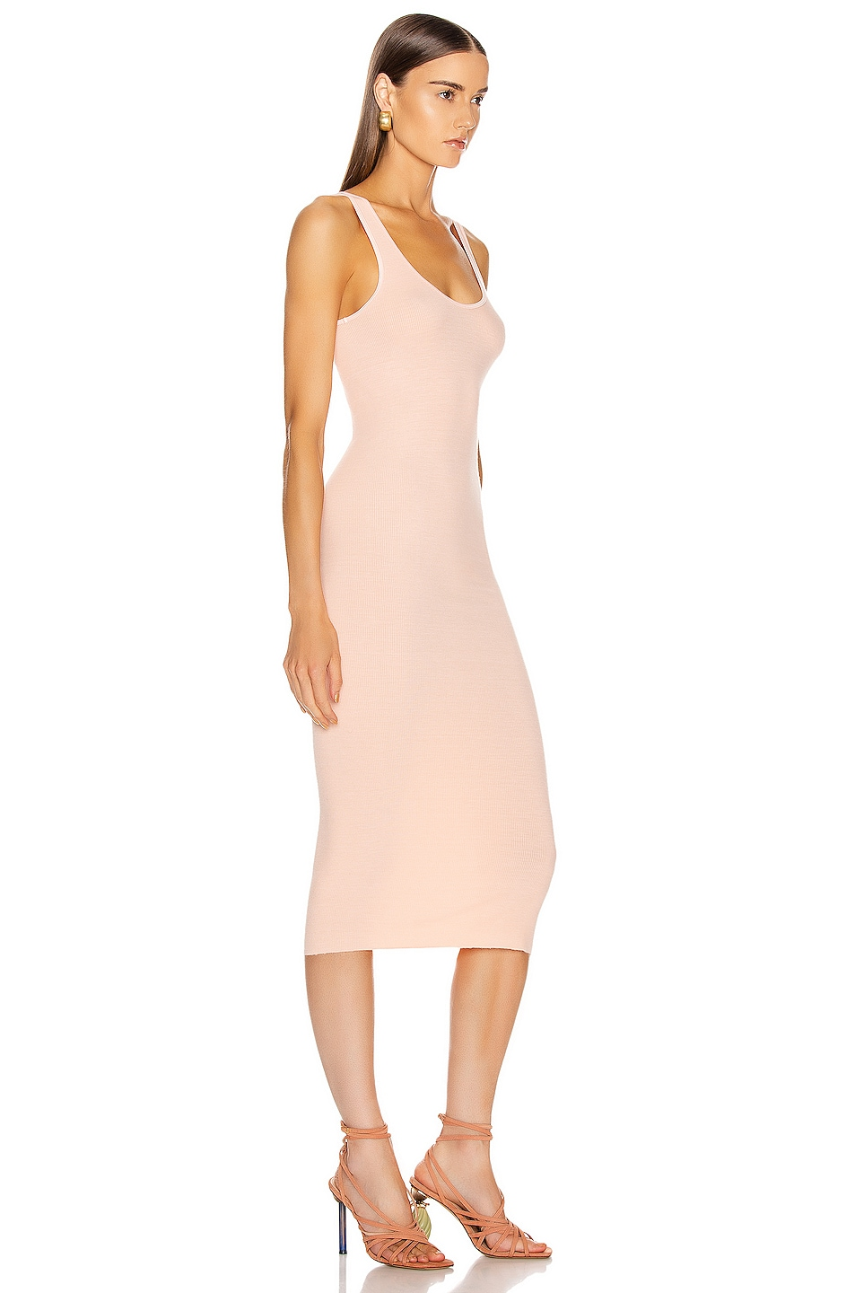 Image 2 of Enza Costa Rib Tank Midi Dress in Peach