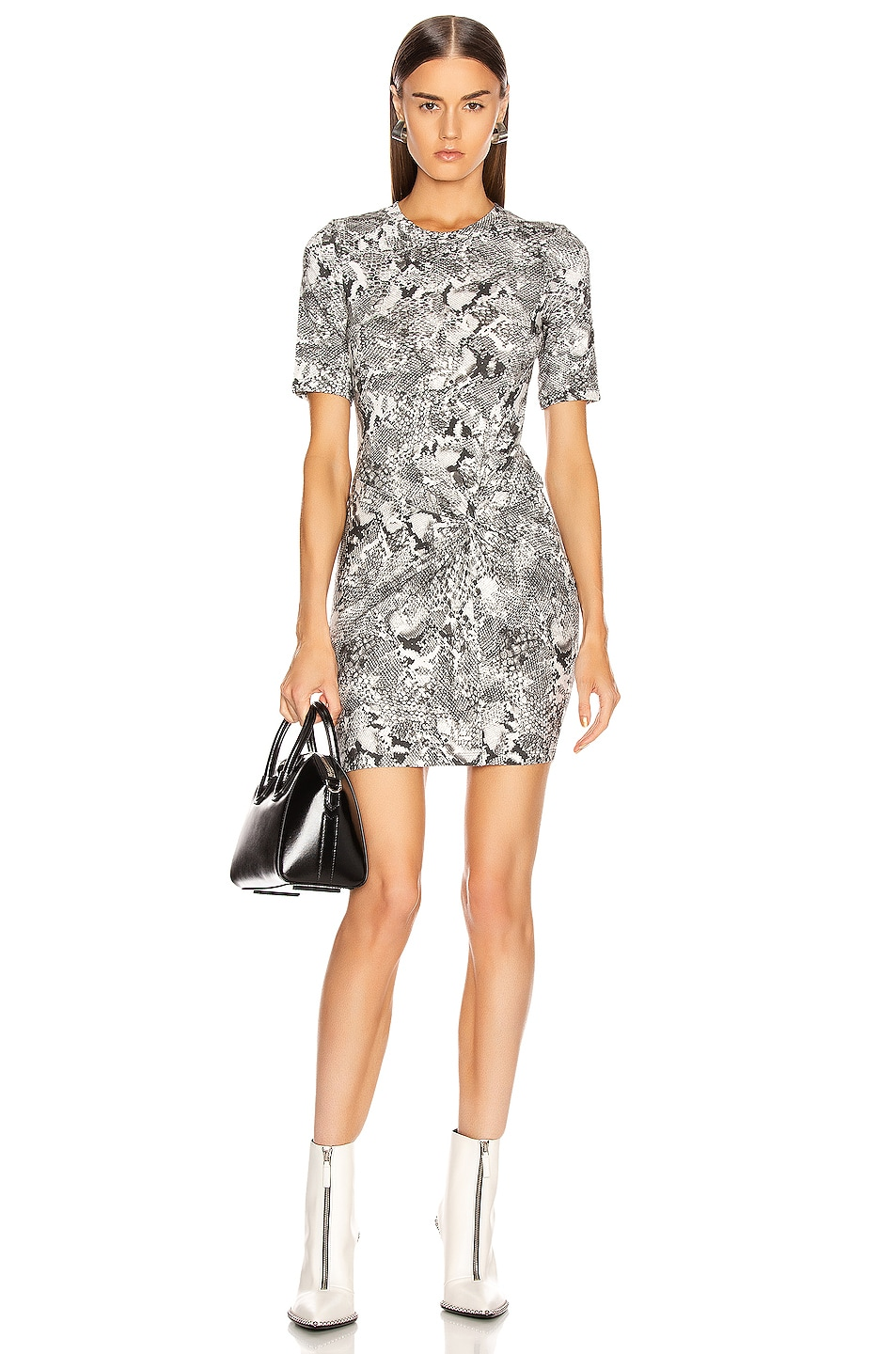 Image 1 of Enza Costa Side Knot Crew Mini Dress in Boa