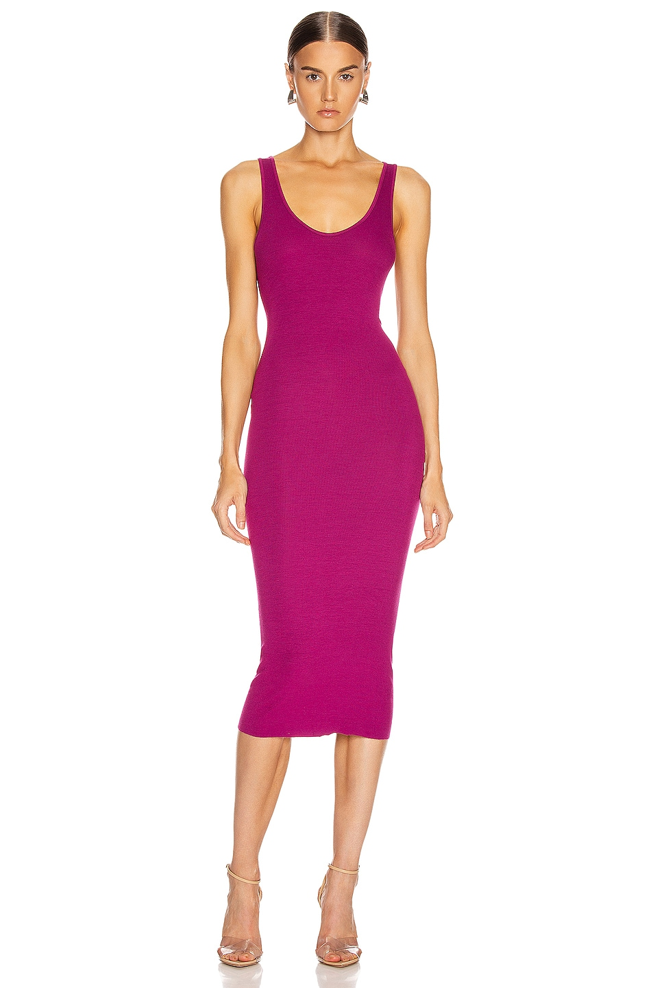 Image 1 of Enza Costa Rib Tank Midi Dress in Magenta