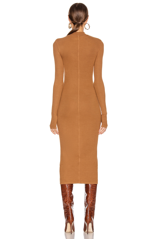 Image 3 of Enza Costa for FWRD Rib Mock Neck Midi Dress in Danish Brown
