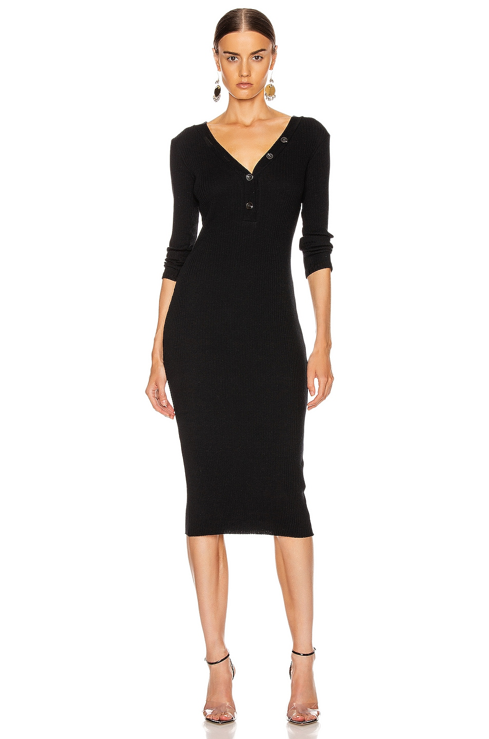 Image 1 of Enza Costa Cashmere Poorboy Rib Long Sleeve Henley Midi Dress in Black