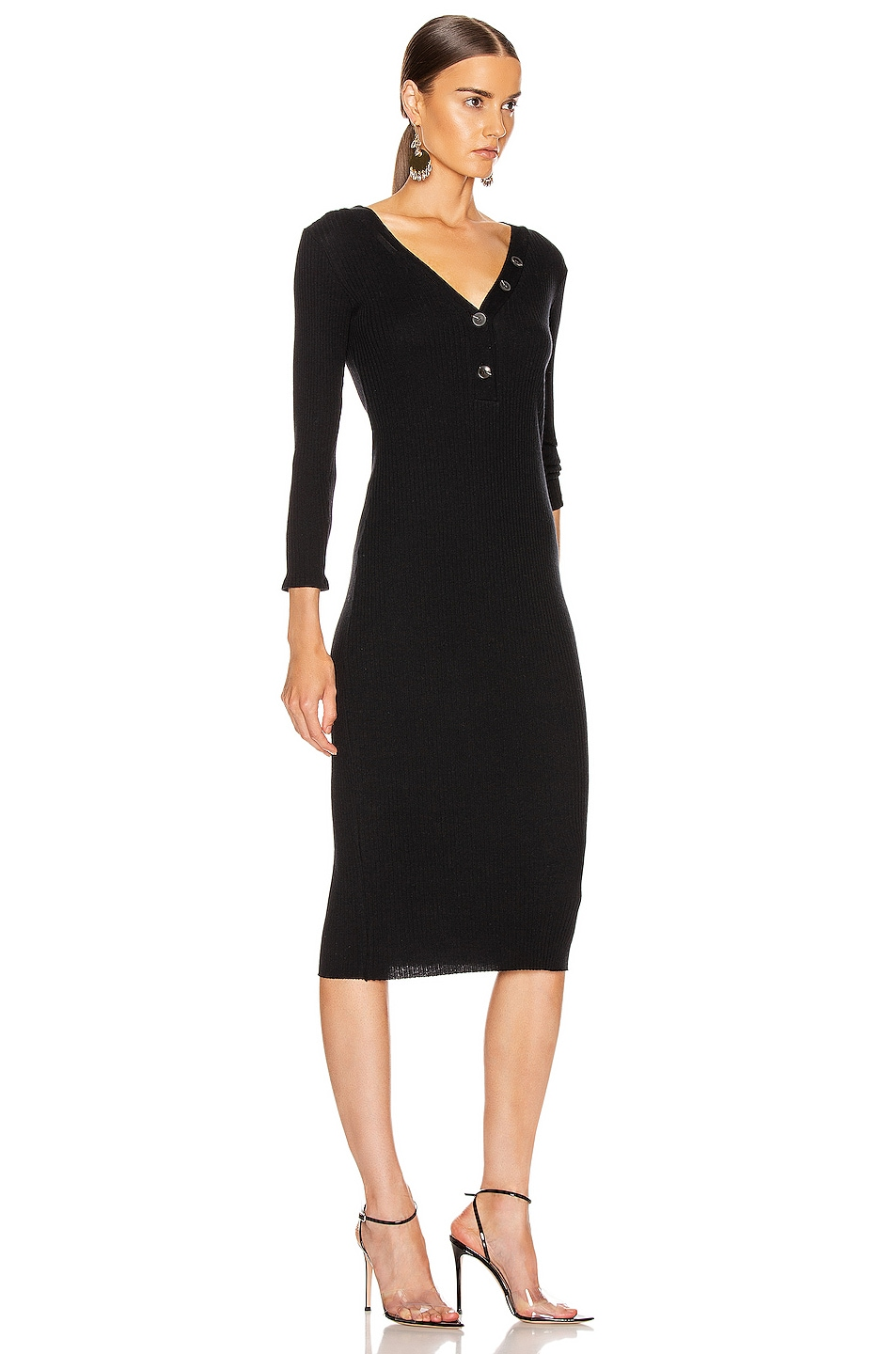 Image 2 of Enza Costa Cashmere Poorboy Rib Long Sleeve Henley Midi Dress in Black