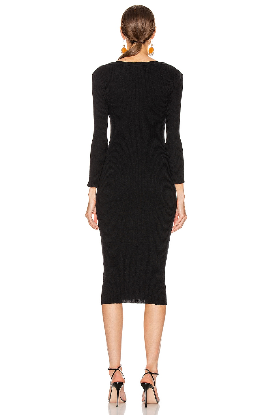 Image 3 of Enza Costa Cashmere Poorboy Rib Long Sleeve Henley Midi Dress in Black