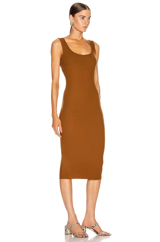 Image 2 of Enza Costa Rib Tank Midi Dress in Cognac