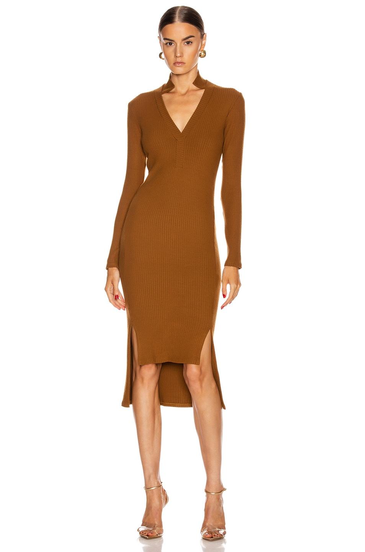 Image 1 of Enza Costa Rib Long Sleeve Step Hem Henley Dress in Cognac