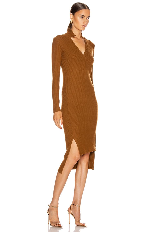 Image 2 of Enza Costa Rib Long Sleeve Step Hem Henley Dress in Cognac